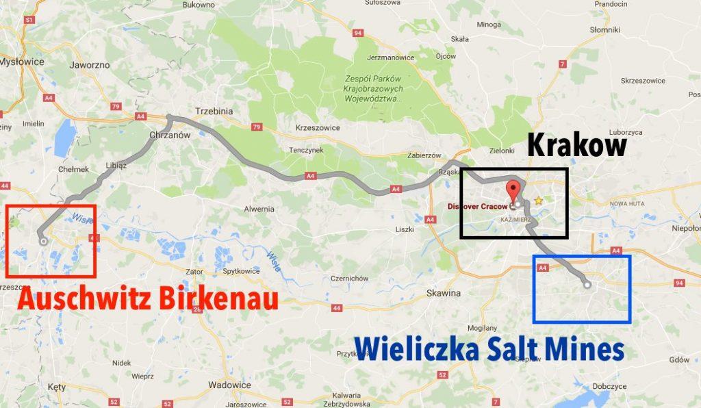 Krakow Map to Auschwitz and Wieliczka