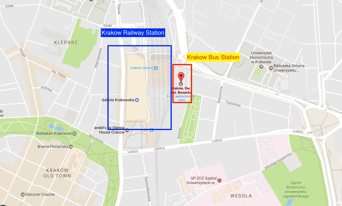 how to get from krk airport to main station krakow