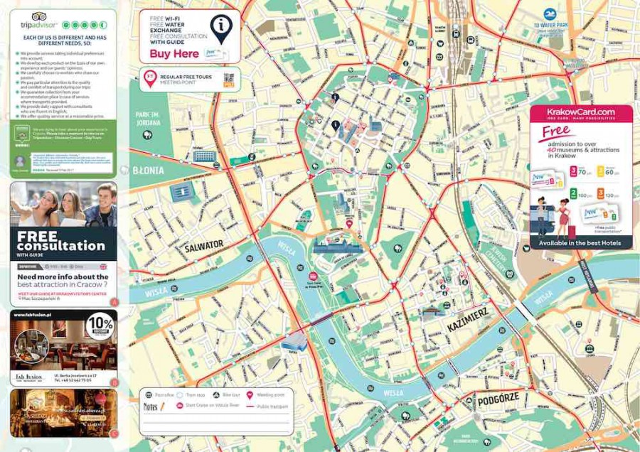 Krakow Old Town Views And Facts With Printable Map
